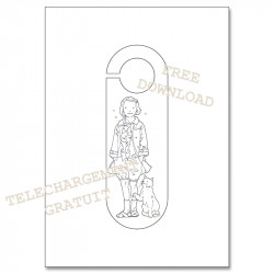 Coloring door hanger - girl