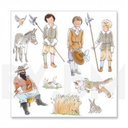 2e planche de dessins de la collection de magnets illustrés pré-découpés sur le thème du conte Le Chat Botté