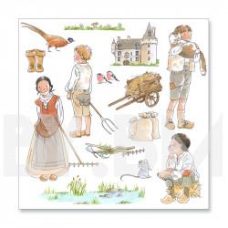 1ère planche de dessins de la collection de magnets illustrés pré-découpés sur le thème du conte Le Chat Botté