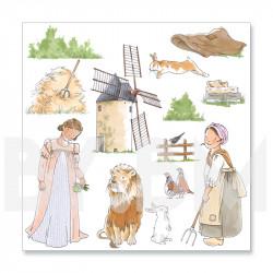 4e planche de dessins de la collection de magnets illustrés pré-découpés sur le thème du conte Le Chat Botté
