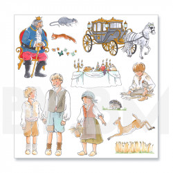 3e planche de dessins de la collection de magnets illustrés pré-découpés sur le thème du conte Le Chat Botté