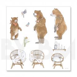 2e planche de dessins de la collection de magnets illustrés pré-découpés sur le thème du conte Boucles d'Or et les Trois Ours