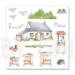 4e planche de dessins de la collection de magnets illustrés pré-découpés sur le thème du conte Boucles d'Or et les Trois Ours