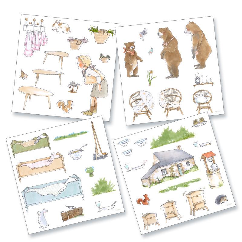 4 planches de dessins de la collection de magnets illustrés pré-découpés sur le thème du conte Boucles d'Or et les Trois Ours
