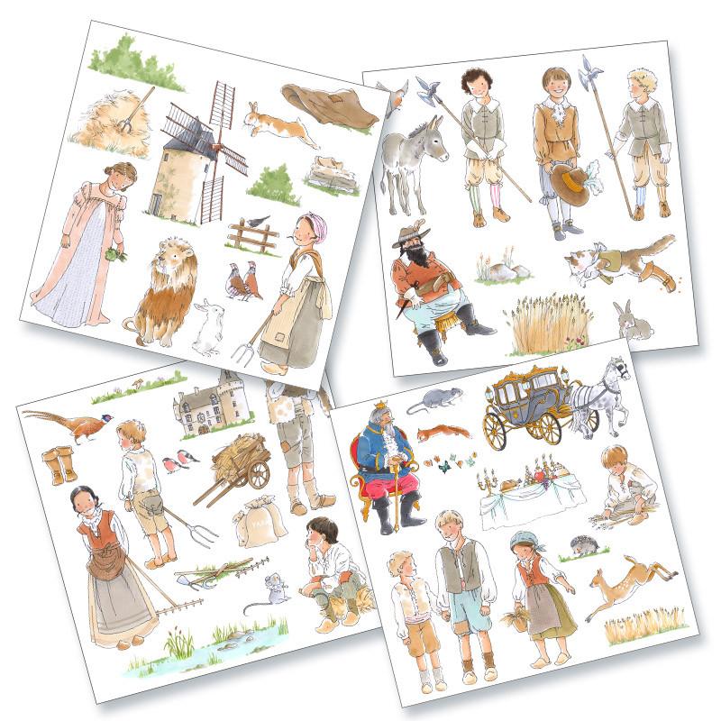Quatre planches de magnets illustrés prédécoupés sur le thème du conte Le Chat Botté