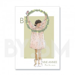 Carte de voeux artistique pour souhaiter une bonne année, dessin original by.bm La vie est belle !
