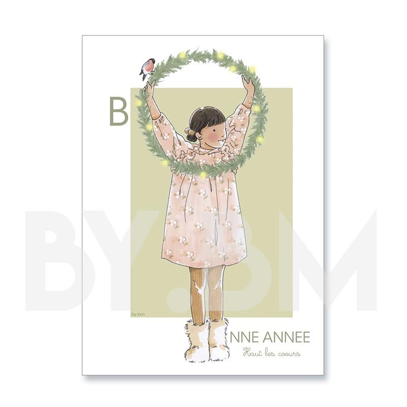 Tarjeta de felicitación artística para desear un feliz año nuevo, dibujo original de by.bm