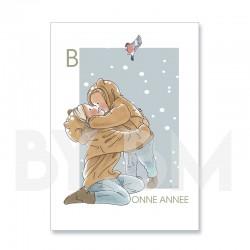 Tarjeta artística de felicitación para desear un feliz año nuevo, dibujo original de by.bm