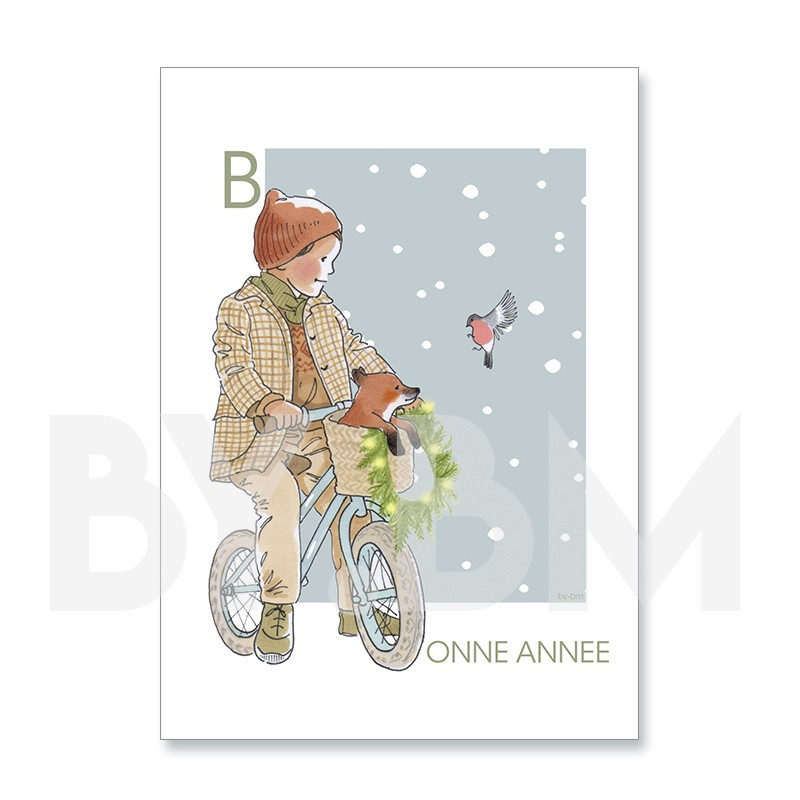 Carte de voeux artistique pour souhaiter une bonne année, dessin original by.bm - bonne année, en chemin !