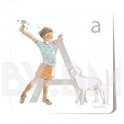Carte abécédaire carré de 8x8cm , lettre A illustrée par de dessins originaux, petite fille, animal et végétal