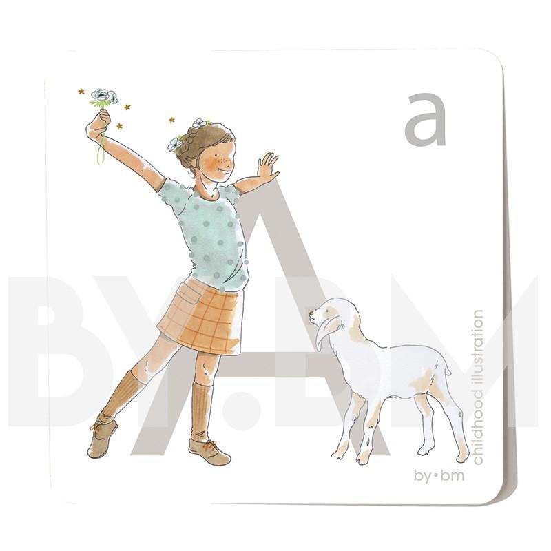 Tarjeta cuadrada de alfabeto de 8x8 cm, letra A ilustrada con dibujos originales, niña, animal y planta