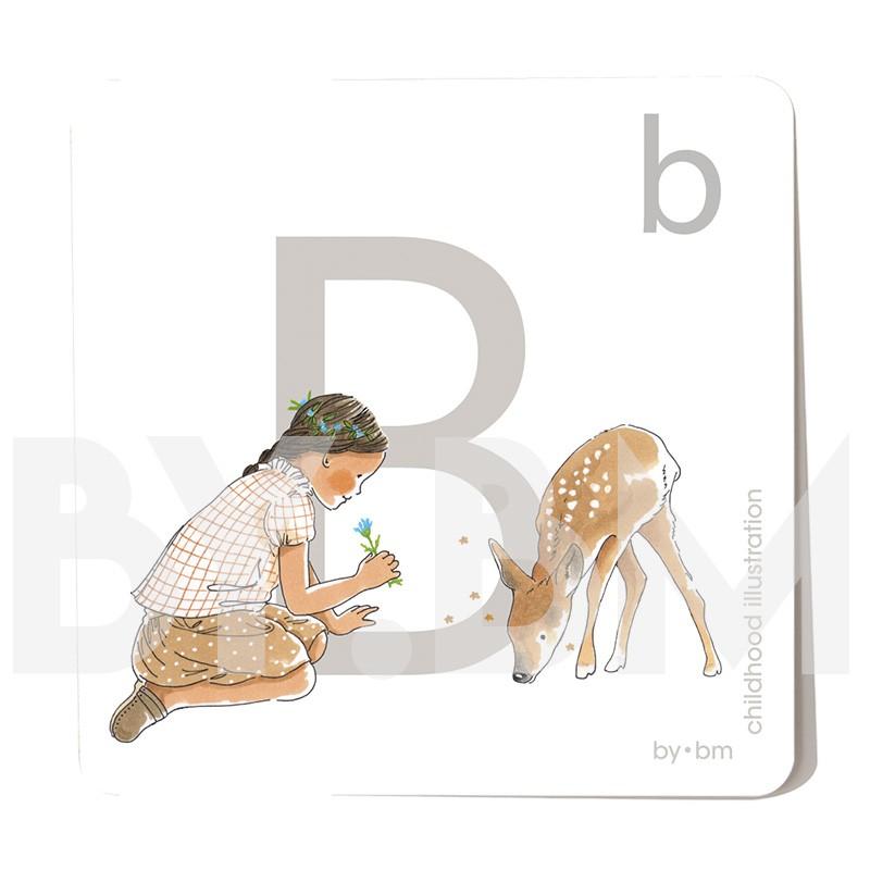 Carte abécédaire carré de 8x8cm , lettre B illustrée par de dessins originaux, petite fille, animal et végétal