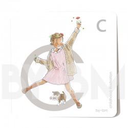 Tarjeta cuadrada de alfabeto de 8x8 cm, letra C ilustrada con dibujos originales, niña, animal y planta