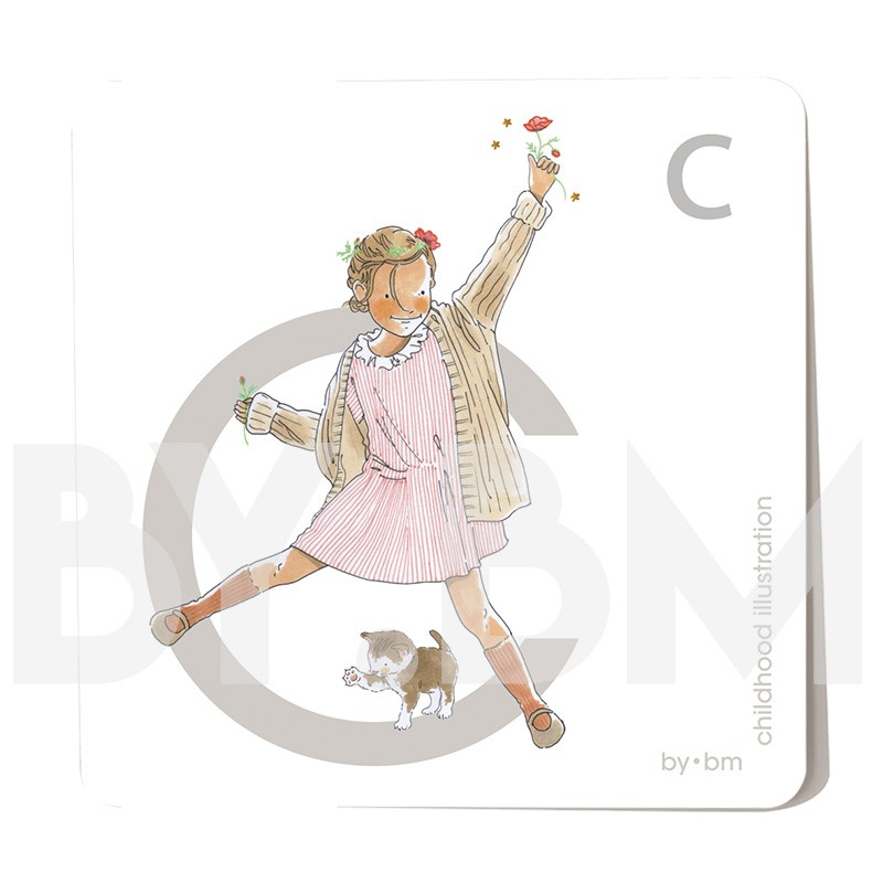 8x8cm square alphabet card, letter C illustrated by original drawings, little girl, animal and plant