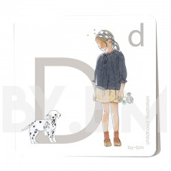 8x8cm square alphabet card, letter D illustrated by original drawings, little girl, animal and plant