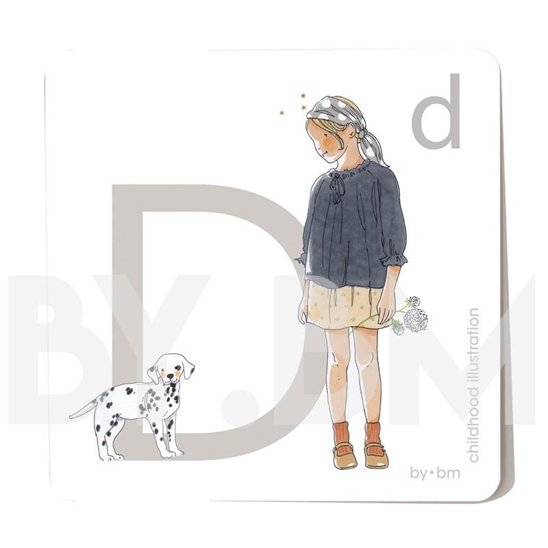 Carte abécédaire carré de 8x8cm , lettre D illustrée par de dessins originaux, petite fille, animal et végétal