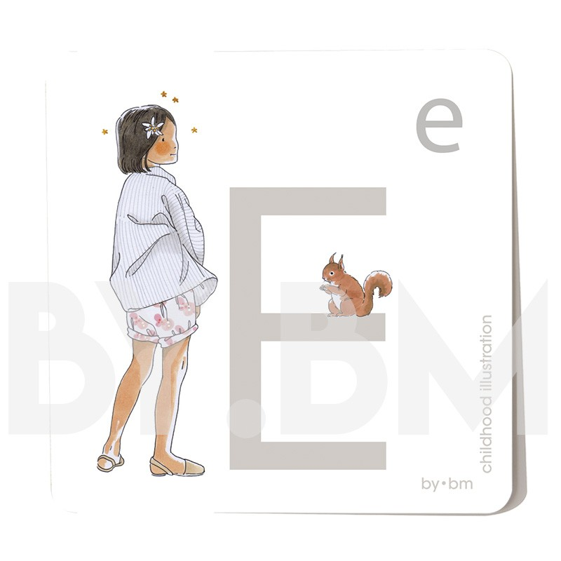 Carte abécédaire carré de 8x8cm , lettre E illustrée par de dessins originaux, petite fille, animal et végétal