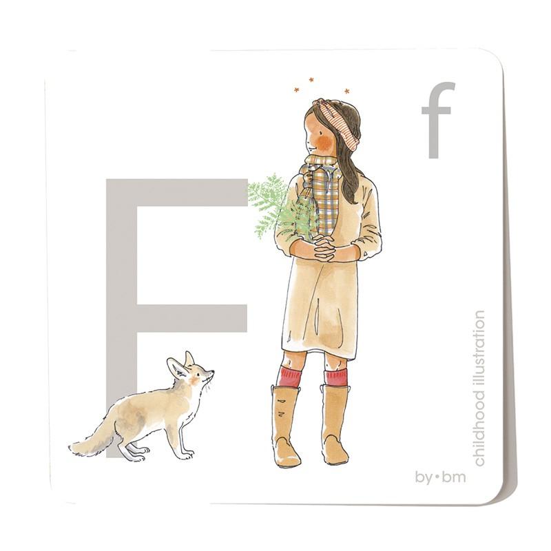Tarjeta cuadrada de alfabeto de 8x8 cm, letra F ilustrada con dibujos originales, niña, animal y planta