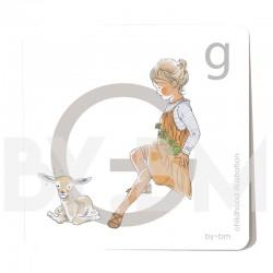 Tarjeta cuadrada de alfabeto de 8x8 cm, letra G ilustrada con dibujos originales, niña, animal y planta