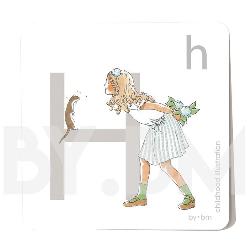 Carte abécédaire carré de 8x8cm , lettre H illustrée par de dessins originaux, petite fille, animal et végétal