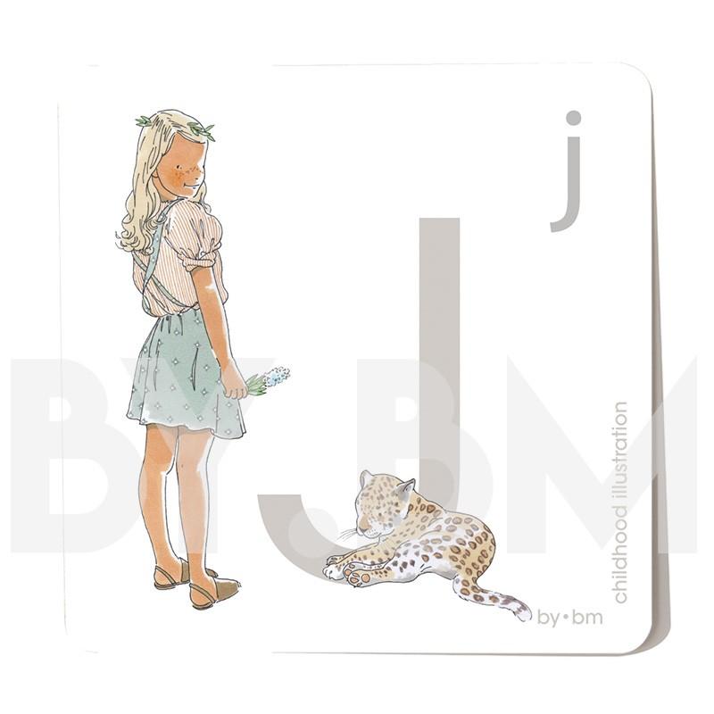 Tarjeta cuadrada de alfabeto de 8x8 cm, letra J ilustrada con dibujos originales, niña, animal y planta