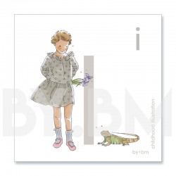 8x8cm square alphabet card, letter I illustrated by original drawings, little girl, animal and plant
