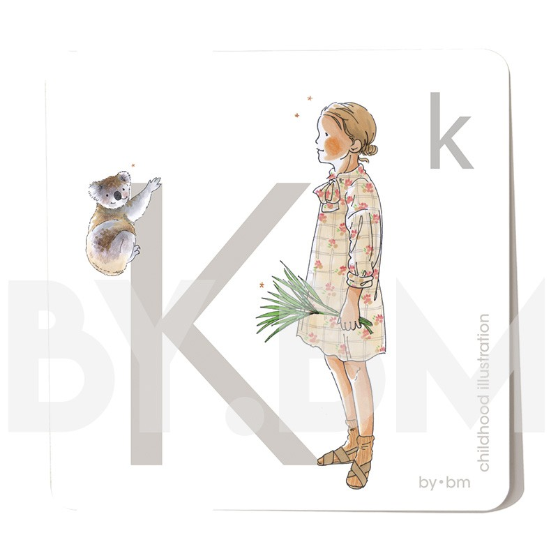 8x8cm square alphabet card, letter K illustrated by original drawings, little girl, animal and plant