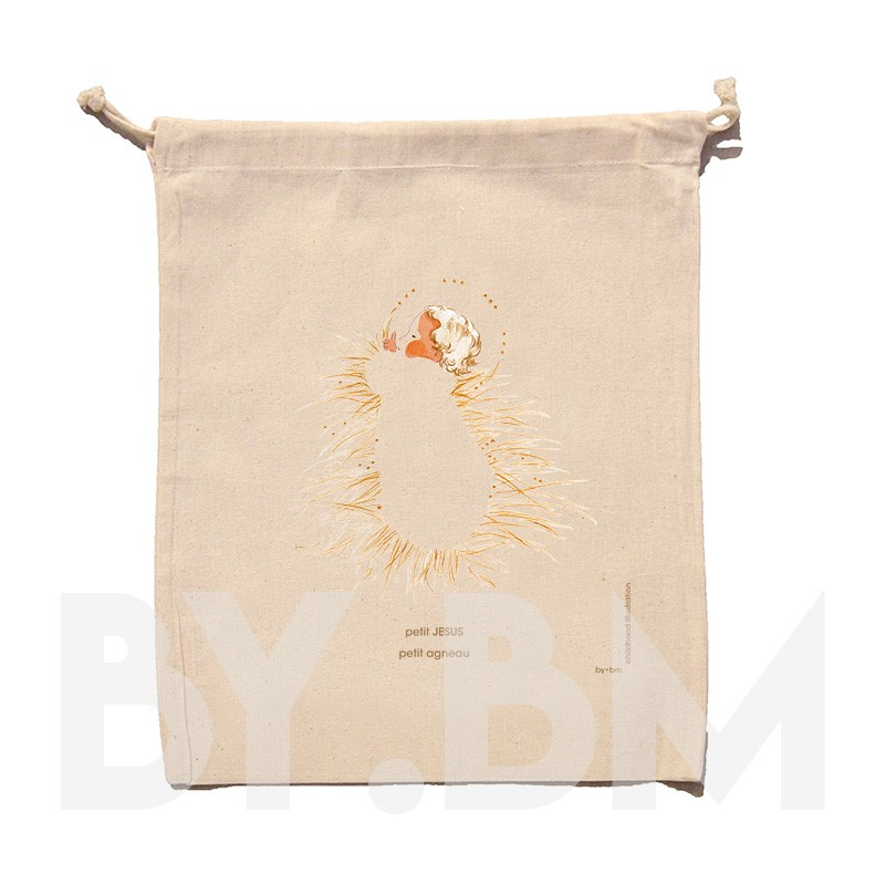 Organic cotton pouch 25x30cm with an original artistic illustration of the Little Jesus on the straw of the cot