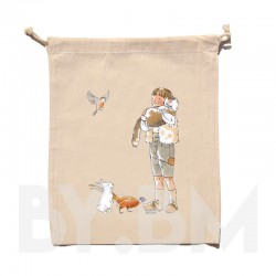 Bolsa de algodón orgánico de 15x20 cm con una ilustración artística original sobre el tema del cuento El Gato con Botas