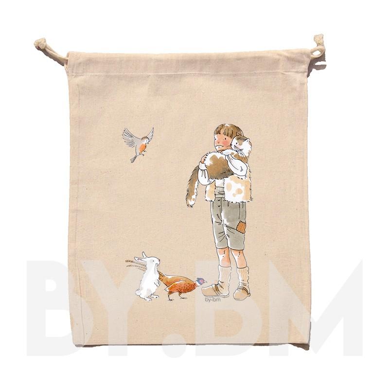 Pochon en coton bio de 15x20cm avec une illustration artistique originale sur le thème du conte Le Chat Botté