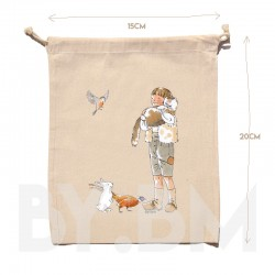 15x20cm organic cotton pouch with an original artistic illustration on the theme of the Puss in Boots