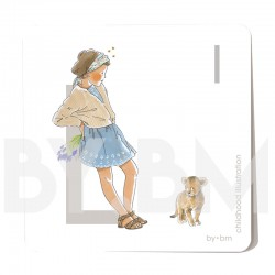 8x8cm square alphabet card, letter L illustrated by original drawings, little girl, animal and plant