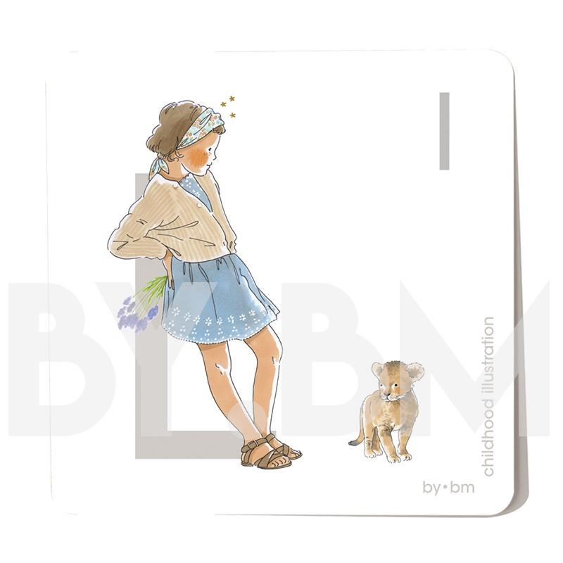 Tarjeta cuadrada de alfabeto de 8x8 cm, letra L ilustrada con dibujos originales, niña, animal y planta