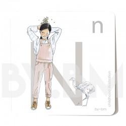 Carte abécédaire carré de 8x8cm , lettre N illustrée par de dessins originaux, petite fille, animal et végétal