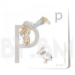 Carte abécédaire carré de 8x8cm , lettre P illustrée par de dessins originaux, petite fille, animal et végétal