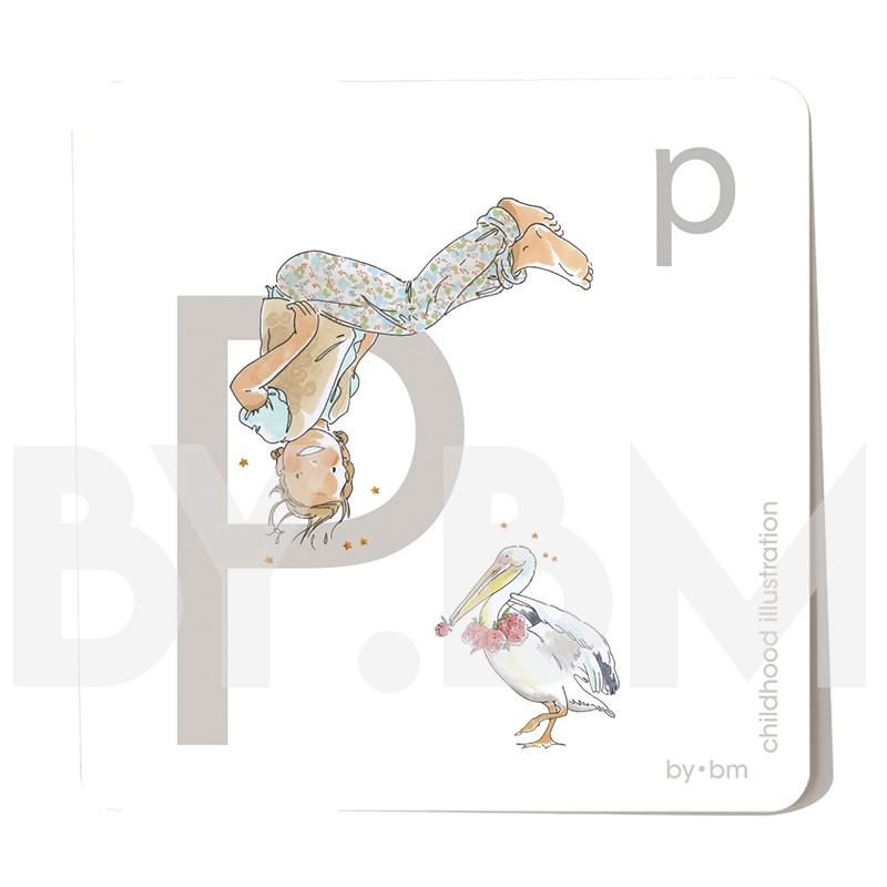 Imán cuadrado de alfabeto de 8x8 cm, letra P ilustrada con dibujos originales, niña, animal y planta