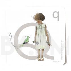 Carte abécédaire carré de 8x8cm , lettre Q illustrée par de dessins originaux, petite fille, animal et végétal