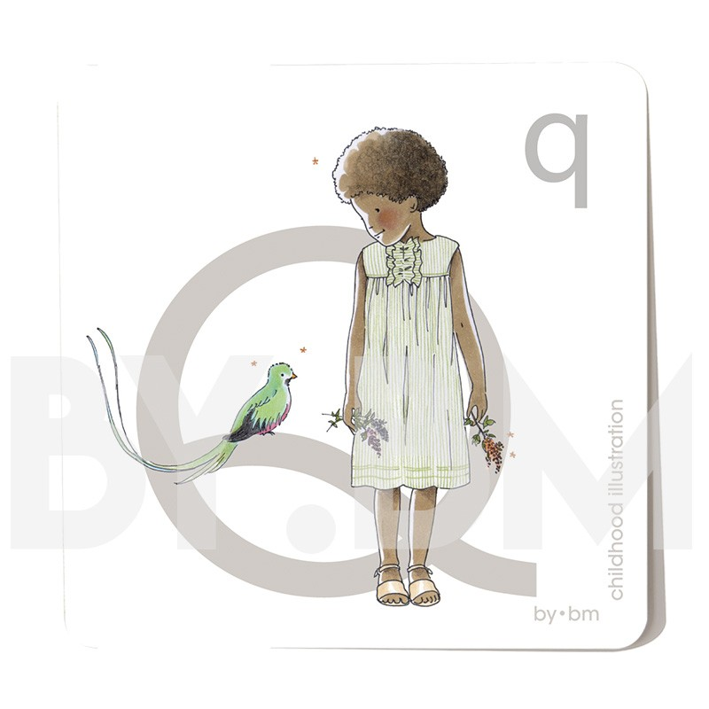 8x8cm square alphabet card, letter Q illustrated by original drawings, little girl, animal and plant