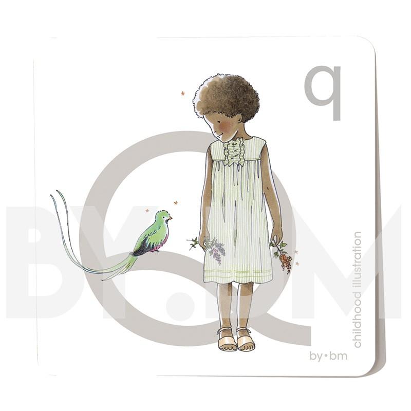 Tarjeta cuadrada de alfabeto de 8x8 cm, letra Q ilustrada con dibujos originales, niña, animal y planta