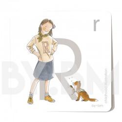 Tarjeta cuadrada de alfabeto de 8x8 cm, letra R ilustrada con dibujos originales, niña, animal y planta