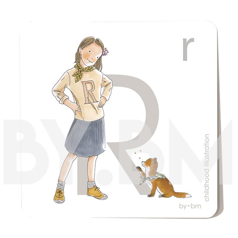 Carte abécédaire carré de 8x8cm , lettre R illustrée par de dessins originaux, petite fille, animal et végétal