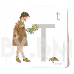 Carte abécédaire carré de 8x8cm , lettre T illustrée par de dessins originaux, petite fille, animal et végétal
