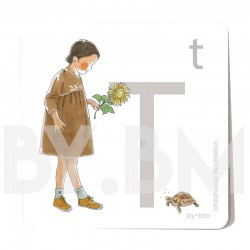 8x8cm square alphabet card, letter T illustrated by original drawings, little girl, animal and plant