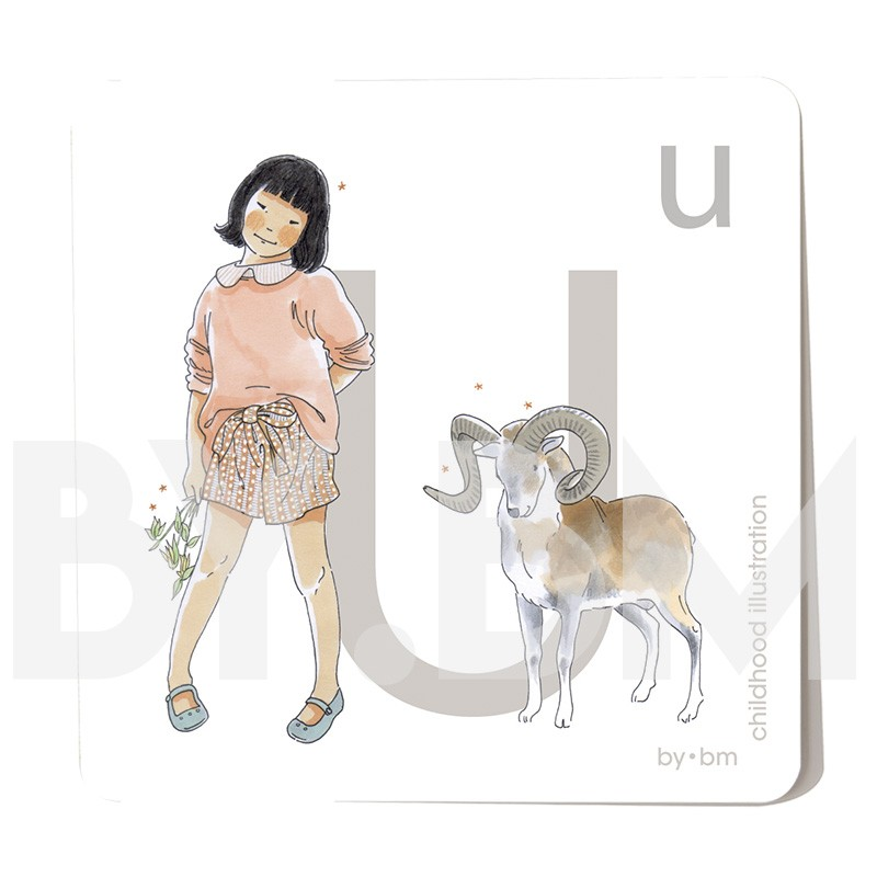 8x8cm square alphabet card, letter U illustrated by original drawings, little girl, animal and plant