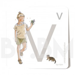 8x8cm square alphabet card, letter V illustrated by original drawings, little girl, animal and plant