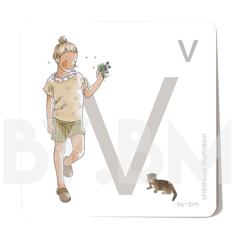 Carte abécédaire carré de 8x8cm , lettre V illustrée par de dessins originaux, petite fille, animal et végétal