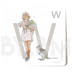 8x8cm square alphabet card, letter W illustrated by original drawings, little girl, animal and plant