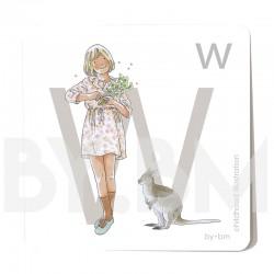 Tarjeta cuadrada de alfabeto de 8x8 cm, letra W ilustrada con dibujos originales, niña, animal y planta