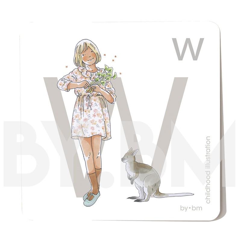 Carte abécédaire carré de 8x8cm , lettre W illustrée par de dessins originaux, petite fille, animal et végétal
