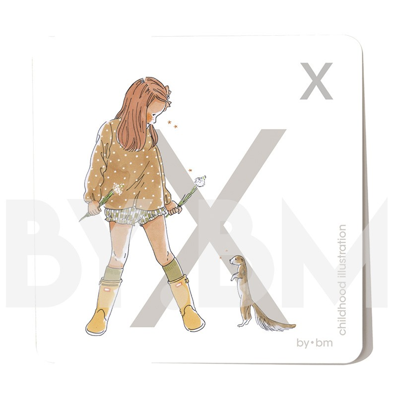 8x8cm square alphabet card, letter X illustrated by original drawings, little girl, animal and plant